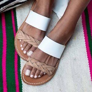 Soludos Braided Slide Sandal white/Tan SZ 9